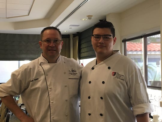 Denis Sebie, senior director of culinary services at Atria Palm Desert on left went up against Jose Chavez during the Chef Showdown on Thursday, July 19.