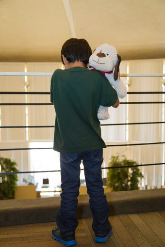 Migrant families are reunited at Lutheran Social Services of the Southwest in Phoenix earlier this week.