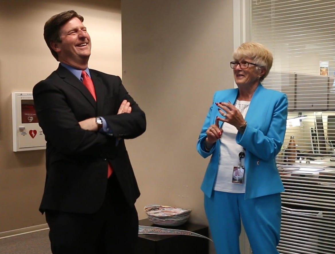 Greg Stanton and Thelda Williams talk at City Hall, when Williams became interim mayor upon Stanton's resignation.