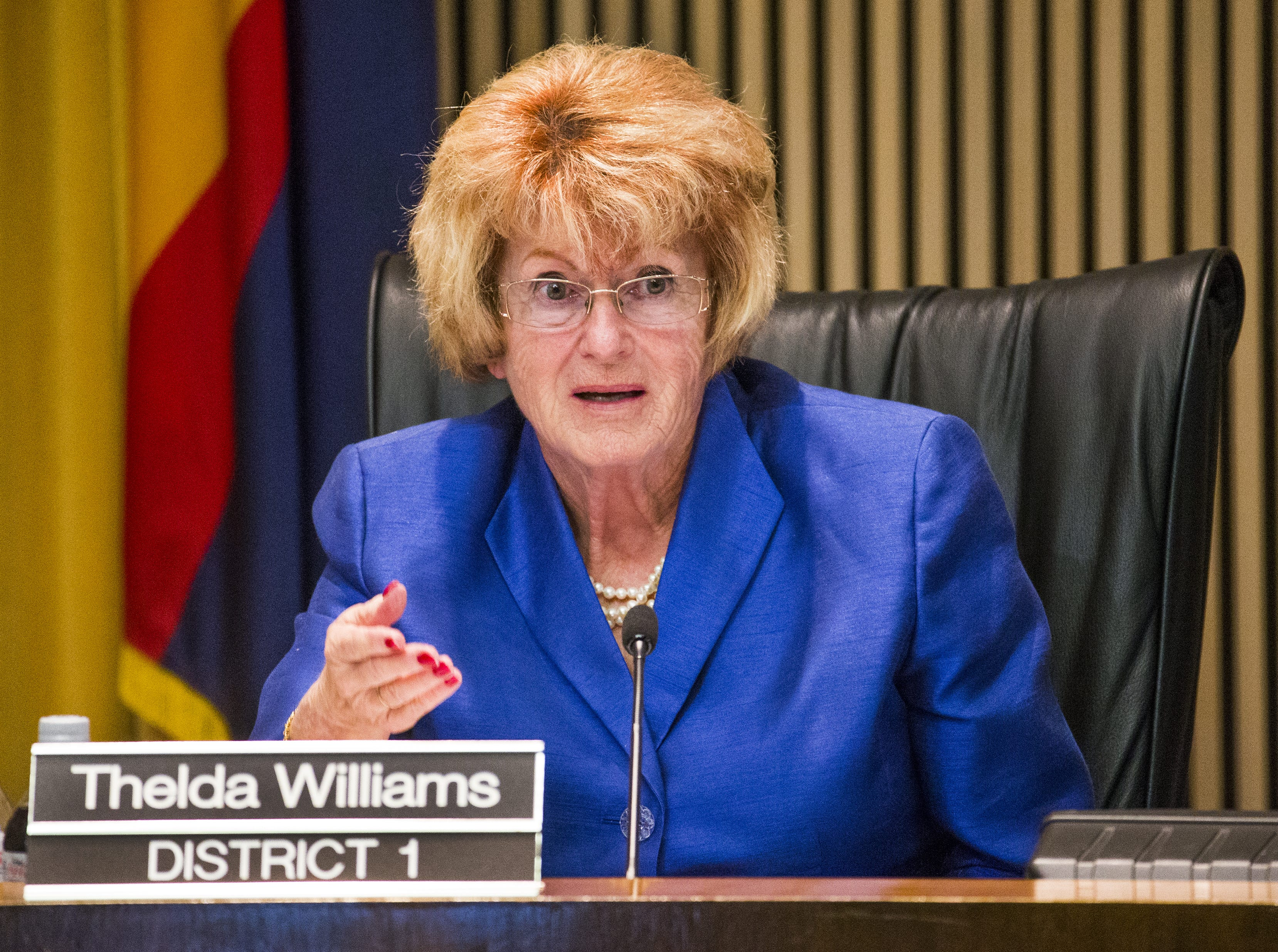 """Phoenix City Councilwoman Thelda Williams explains her vote Feb. 15, 2017, as the Phoenix City Council denied a citizen request to designate Phoenix a """"sanctuary city,"""" but will look at possible legal challenges the city could make to a state law that requires local police comply with federal immigration enforcement."""