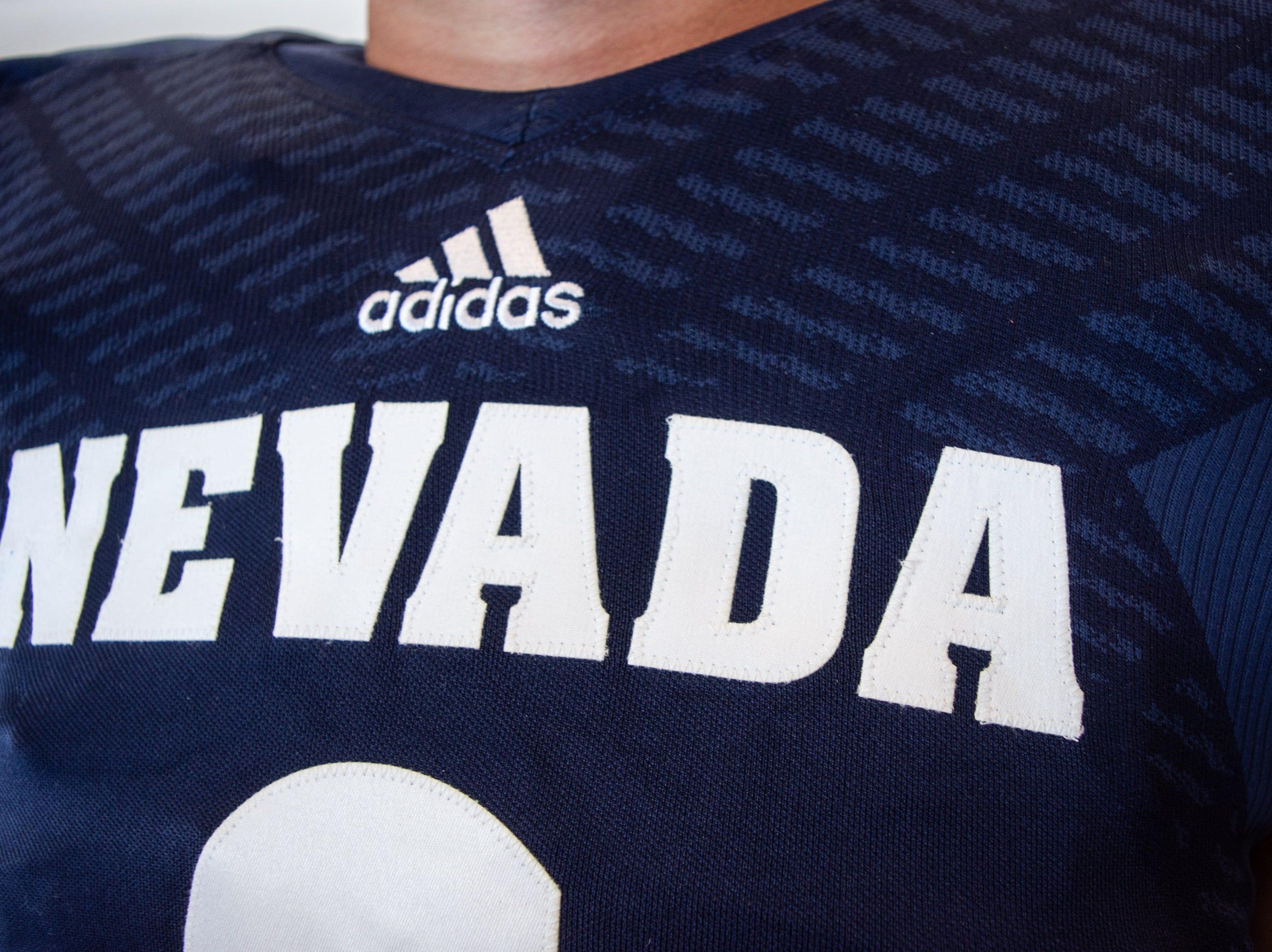 The Wolf Pack's new football uniforms. (Chris Murray/RGJ)
