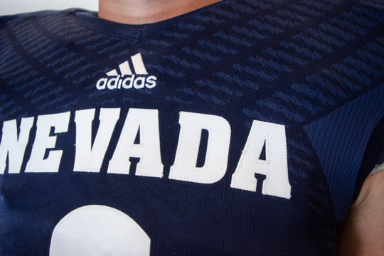 The Wolf Pack's new football uniforms. (Chris Murray/RGJ)