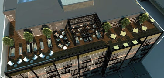 Rooftop terrace: A architectural rendering of the plans for the renovation of the Huey Building at 112 N. Phillips Ave. in Sioux Falls.