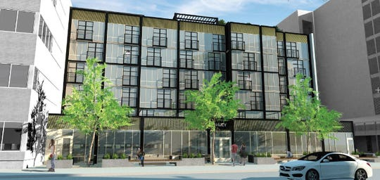 A architectural rendering of the plans for the renovation of the Huey Building at 112 N. Phillips Ave. in Sioux Falls, looking at the east side of the building.