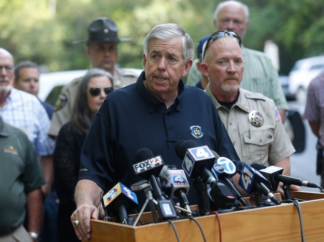 Gov. Mike Parson speaks about the duck boat tragedy in Branson Friday morning.