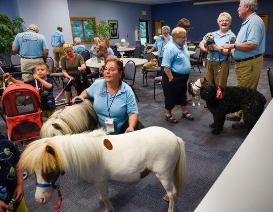 Joyce Salzer, Cold Spring, has her certified therapy miniature horses at the monthly meeting of the Central Minnesota Therapy Animal Association meeting Tuesday, July 17. The association gathered for a group photo at St. John's Episcopal Church