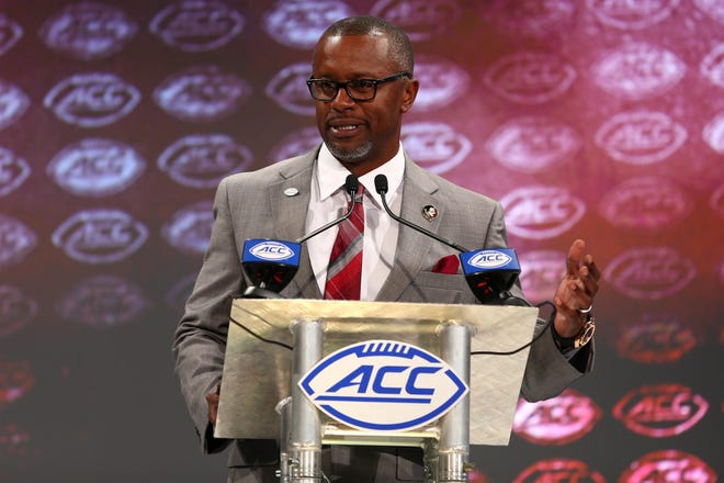 Florida State Seminoles head coach Willie Taggert speaks with the media during ACC football media day at The Westin. Mandatory Credit: Jeremy Brevard-USA TODAY Sports