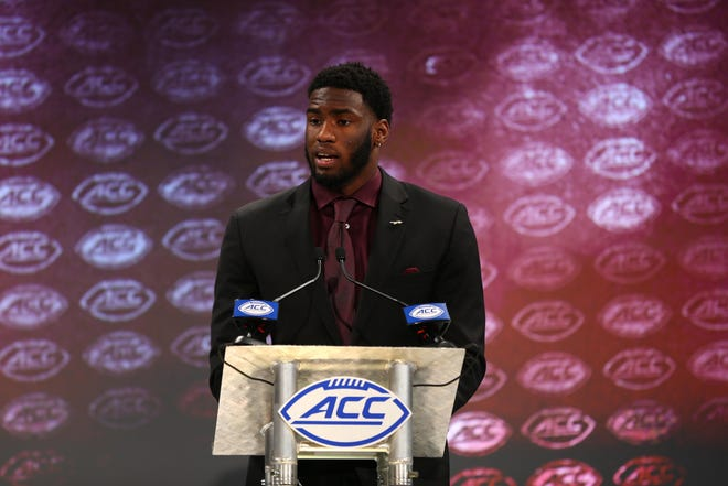 Florida State Seminoles defensive end Brian Burns speaks with the media during ACC football media day at The Westin.