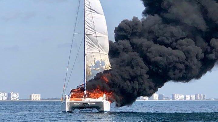 Coast Guard responds to boat ablaze off Fort Pierce