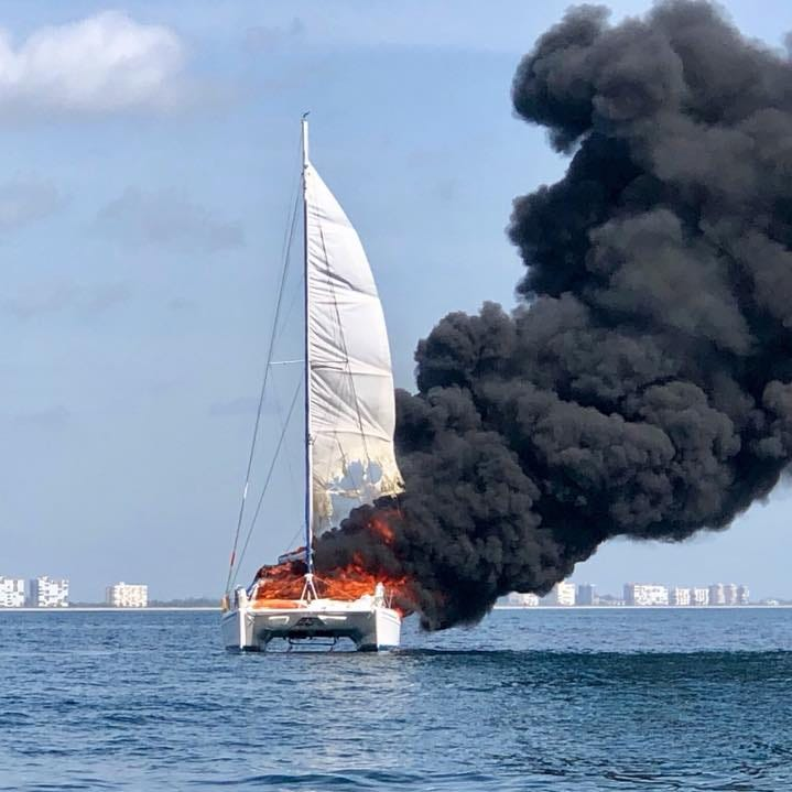 Coast Guard responds to boat ablaze off Fort Pierce