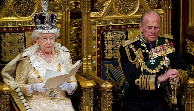 Britain's Prince Philip is seen with Queen Elizabeth at the state Opening of Parliament in 2010.