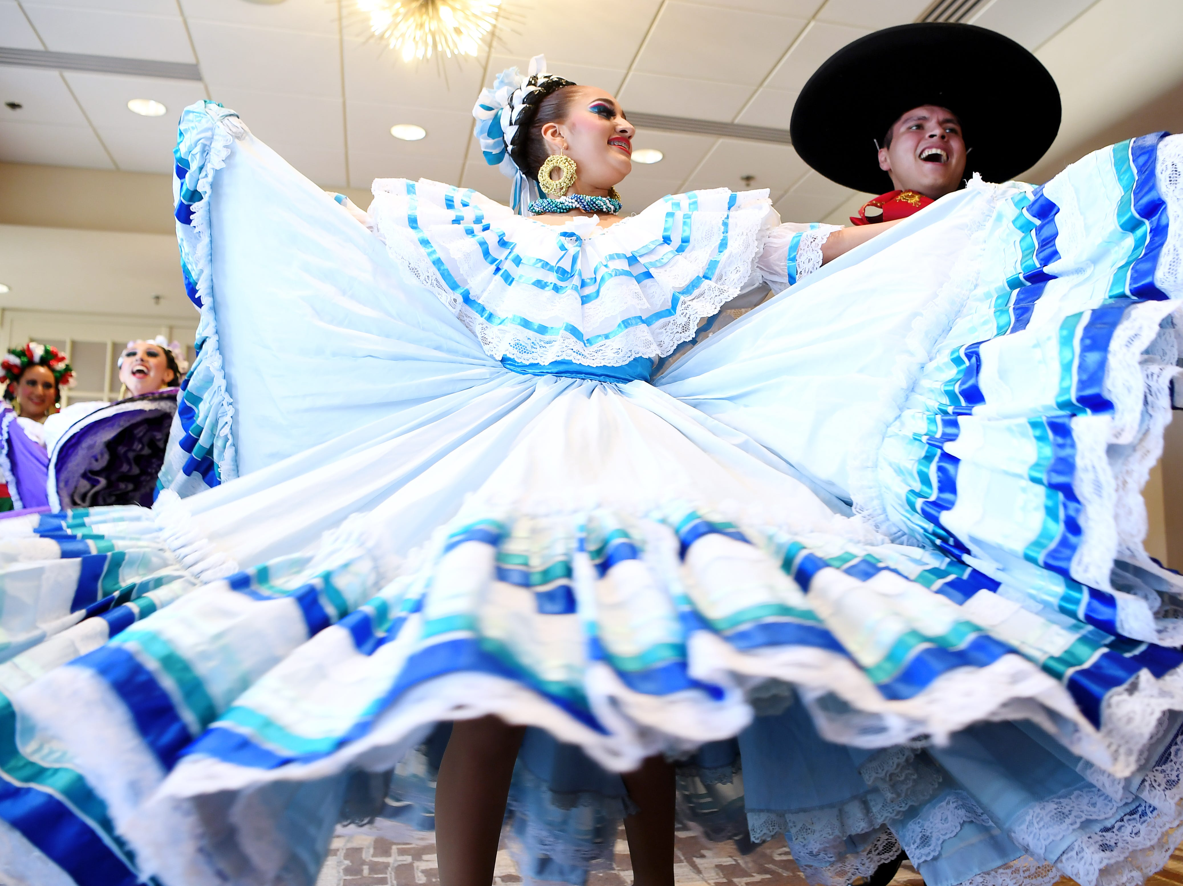 The Fiesta Mexicana Ballet Folklorico performed for the Asheville Rotary Club for a preview of Folkmoot at the Renaissance Hotel July 19, 2018. The Folkmoot Festival is now through July 29.
