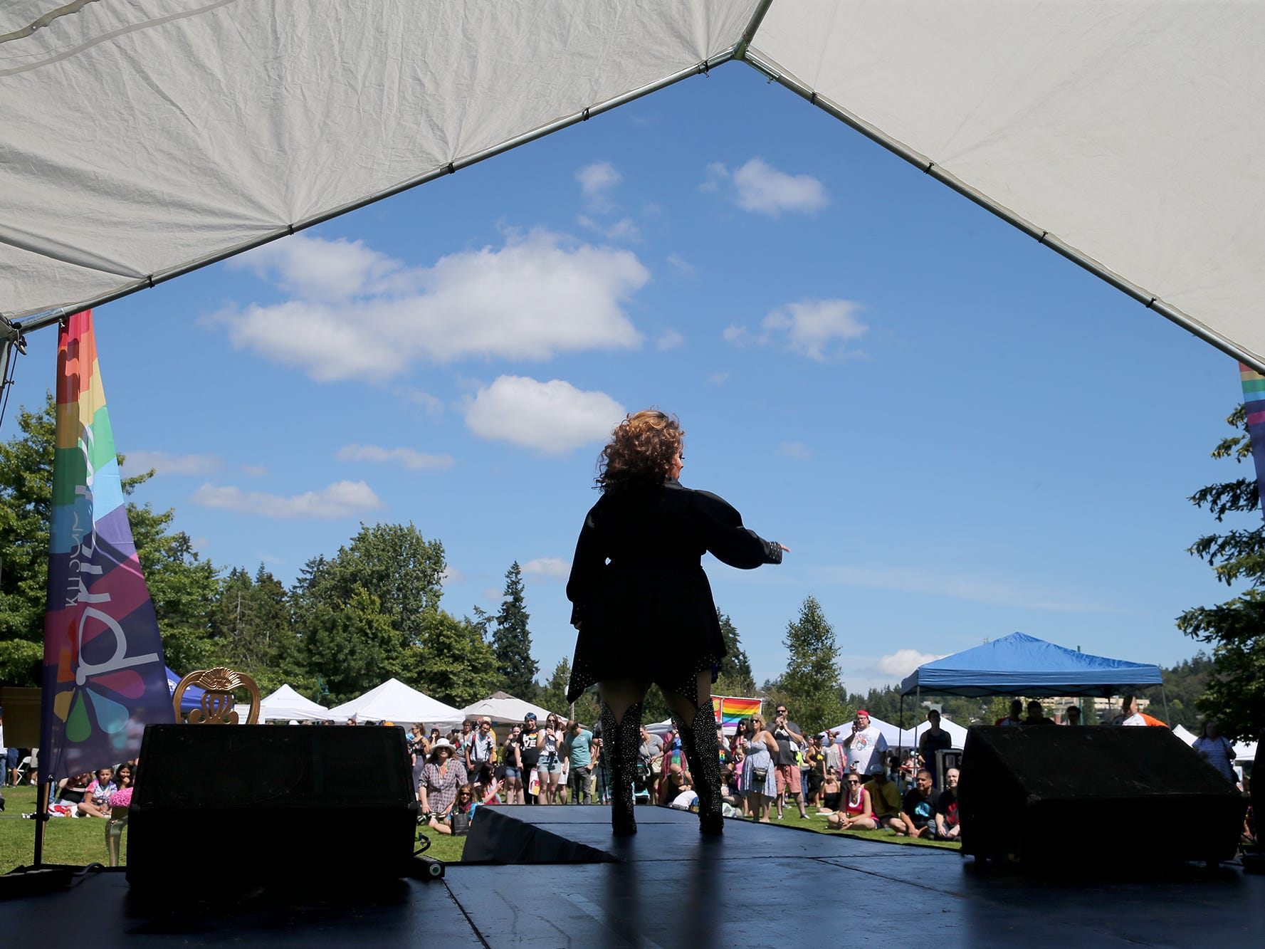 Roxy Ross performs at the Kitsap Pride Festival on Saturday July, 21, 2018 at Evergreen-Rotary Park in Bremerton.