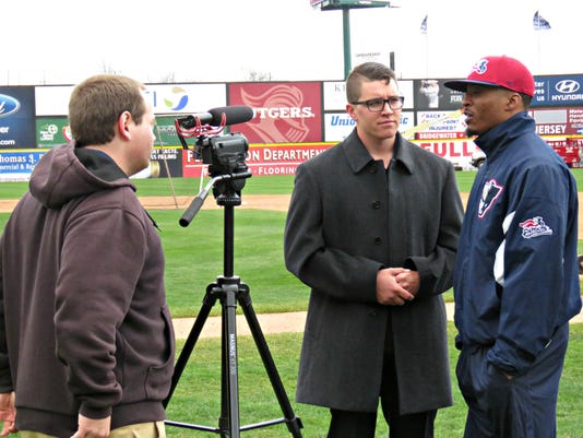Pat Boyle Interviewing Patriots Infielder Justin Trapp During Somerset Patriots Spring Training