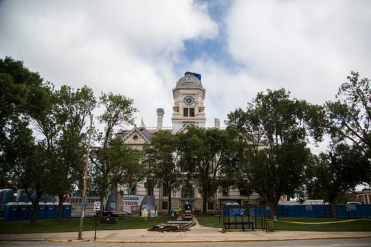 Perfection Property Restoration crews repair and dry out the damaged Marshall County Courthouse on Saturday, July 21, 2018, in downtown Marshalltown. Two days earlier as a tornado tore the building's clock town off the roof it also caused the sprinkler system to break resulting in water damage throughout the building.