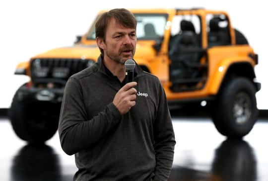Mike Manley, Head of Jeep Brand talks with journalists the Design Dome in Auburn Hills on Tuesday, March 20, 2018.