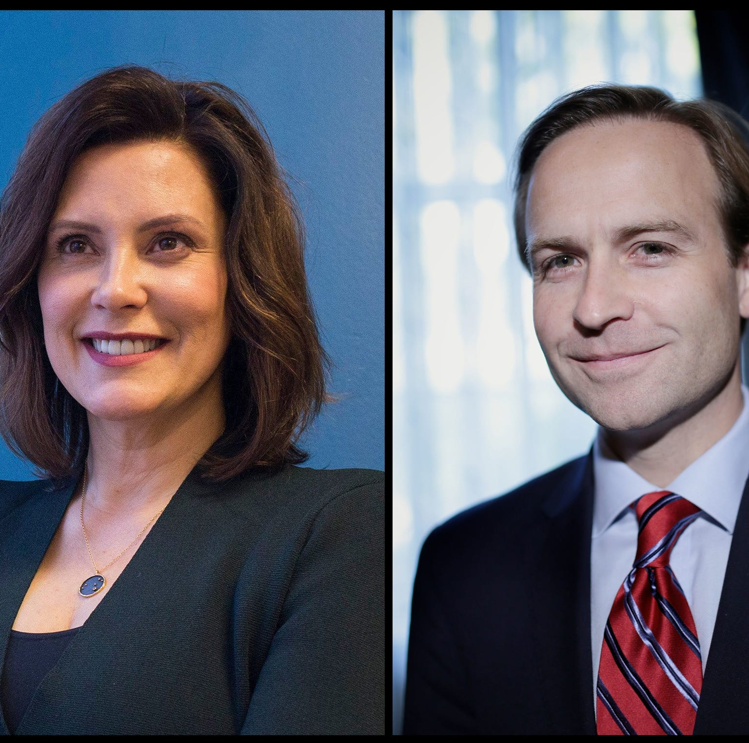 Gretchen Whitmer, right, and Brian Calley, left.