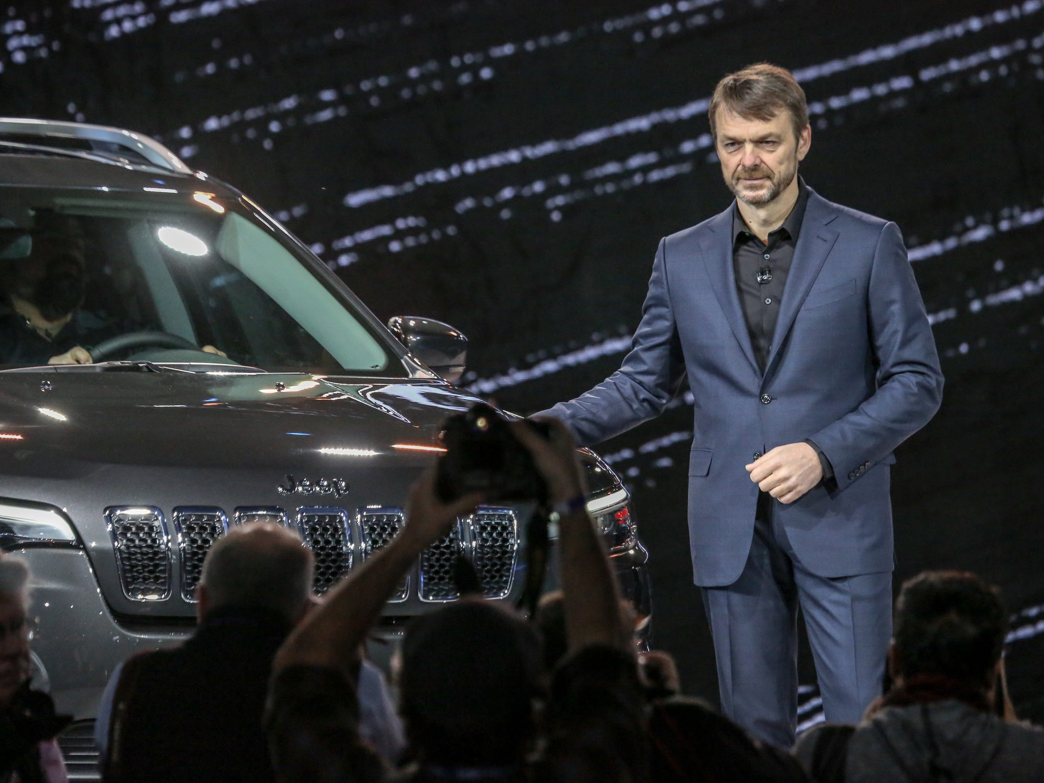 Mike Manley, Head of Jeep Brand, presents the 2019 Jeep Cherokee, during the 2018 North American International Auto Show held at Cobo Center in downtown Detroit on Tuesday, Jan. 16, 2017.