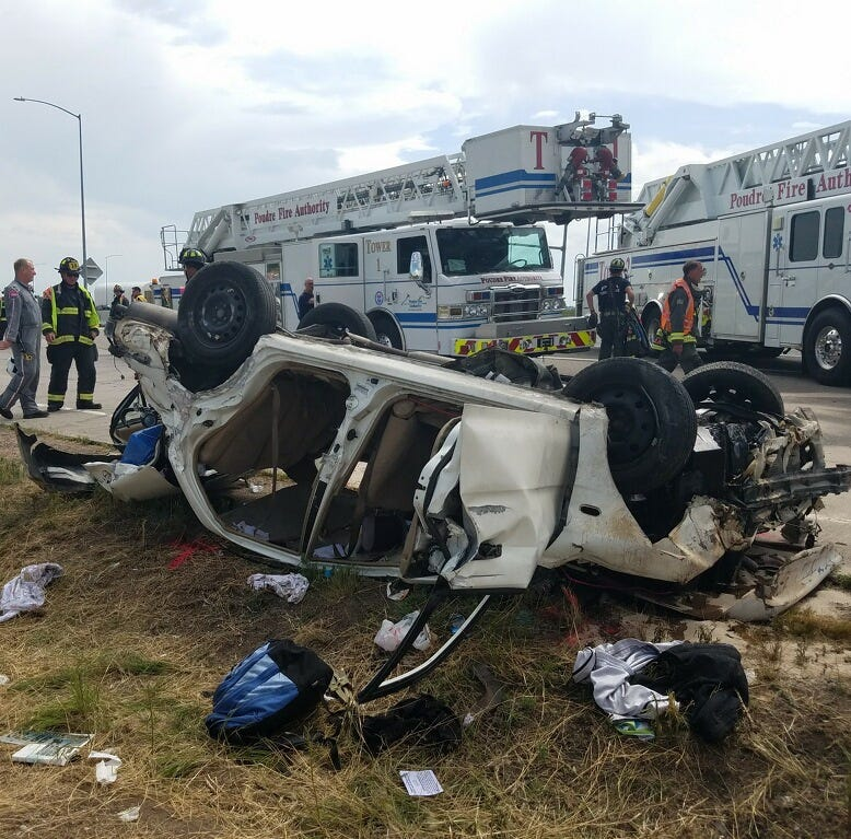 5 injured in Saturday crash on I-25