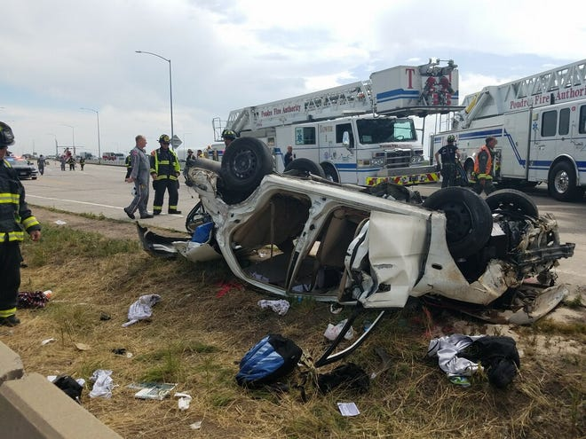 Several people were injured in a crash on Interstate 25 near Prospect Road on Saturday.