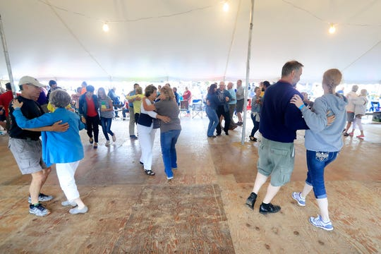 People dance at the 40th annual Pulaski Polka Days on Saturday, July 21, 2018 in Pulaski, Wis.