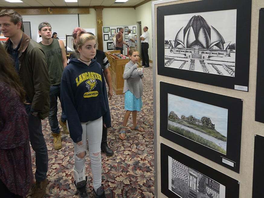 Lancaster student art work was exhibited Friday, July 20, 2018, during the Lancaster Festival ArtWalk in the ADAMH building.