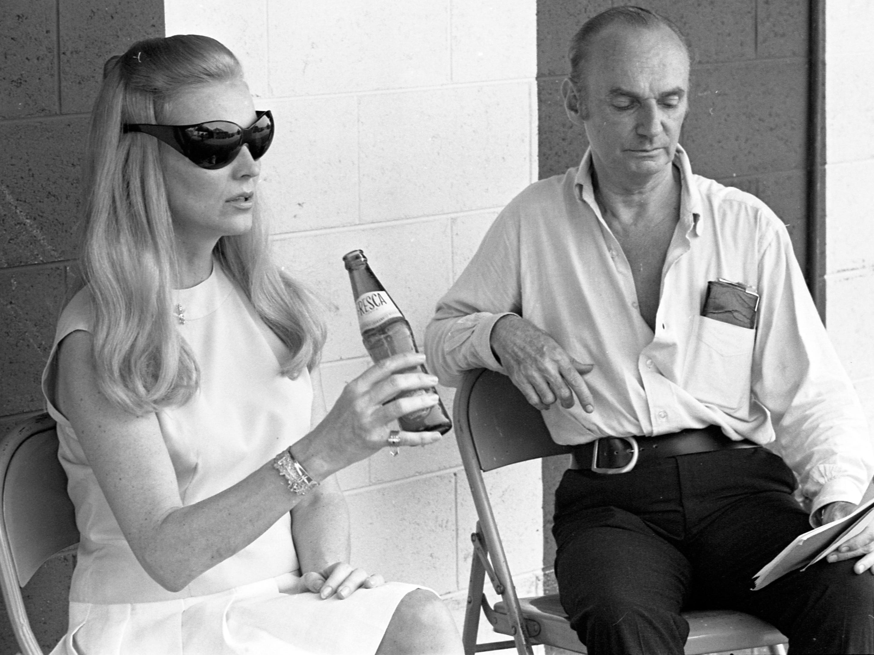 "Actress Anne Jeffreys, in Milwaukee to perform in the play ""Desert Song"" at the Melody Top theater, takes a Fresca break during rehearsal with co-star Erik Rhodes in August 1968 in this unpublished photo."