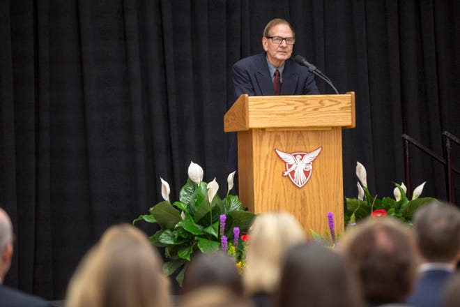 Don Shondell speaks at the opening of the Dr. Don Shondell Practice Center at Ball State University in 2018.
