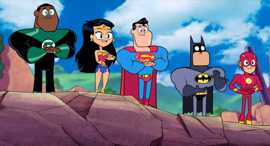 """Teen Titans Go! To the Movies"" features Green Lantern, Wonder Woman, Superman, Batman and Flash."