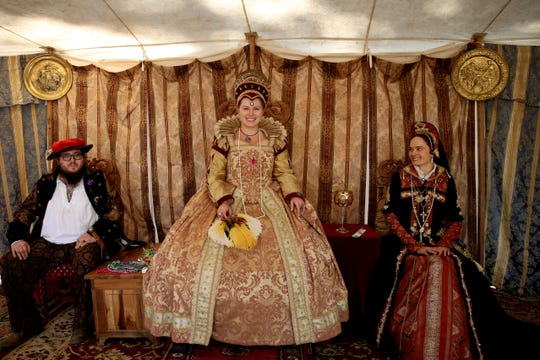Alison White, of Wilsonville, as Queen Elizabeth I, with her court during the Canterbury Renaissance Faire near Silverton on July 21, 2018.
