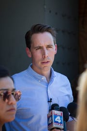 Missouri Attorney General Josh Hawley speaks to members of the press during a media briefing about the investigation into the Thursday duck boat accident at the Missouri State Highway Patrol Command Center in Branson, Mo. on Saturday, July, 21, 2018.
