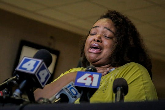 Tia Coleman, a survivor of the Ride the Ducks duck boat accident that left 17 dead on Thursday, speaks to members of the media about her experience during a press conference at the Cox Medical Center Branson on Saturday, July 21, 2018 in Branson, Mo. Coleman lost 9 family members in the tragedy.