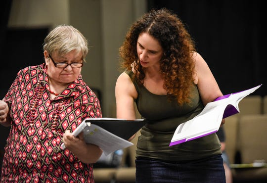 "Janet Schleper works on her lines with director Heather Mastromarco during rehearsal of ""Understanding Your Pet with Dr. Marla Brett"" Friday, July 20, at the GREAT Theatre in Waite Park."