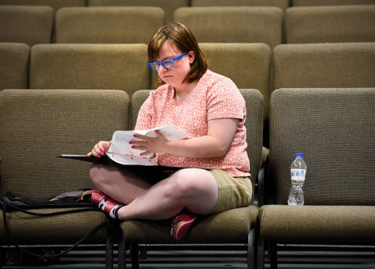 """Chloe Schlough works on her lines before the start of rehearsal of """"Understanding Your Pet with Dr. Marla Brett"""" Friday, July 20, at the GREAT Theatre in Waite Park."""