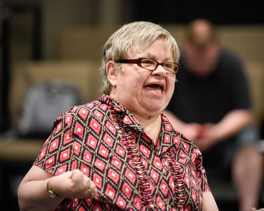 """Riley, played by Janet Schleper delivers a line in """"Understanding Your Pet with Dr. Marla Brett"""" during rehearsal Friday, July 20, at the GREAT Theatre in Waite Park."""
