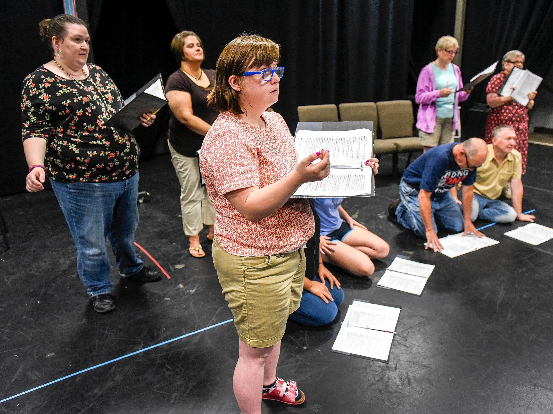 "Chloe Schlough says her lines during rehearsal of ""Understanding Your Pet with Dr. Marla Brett"" Friday, July 20, at the GREAT Theatre in Waite Park."