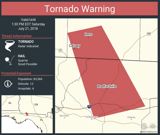 The National Weather Service has issued a tornado warning until 1:30 p.m.