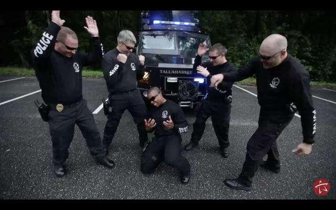 """A screenshot from TPD's """"Lip Sync Challenge"""" video"""