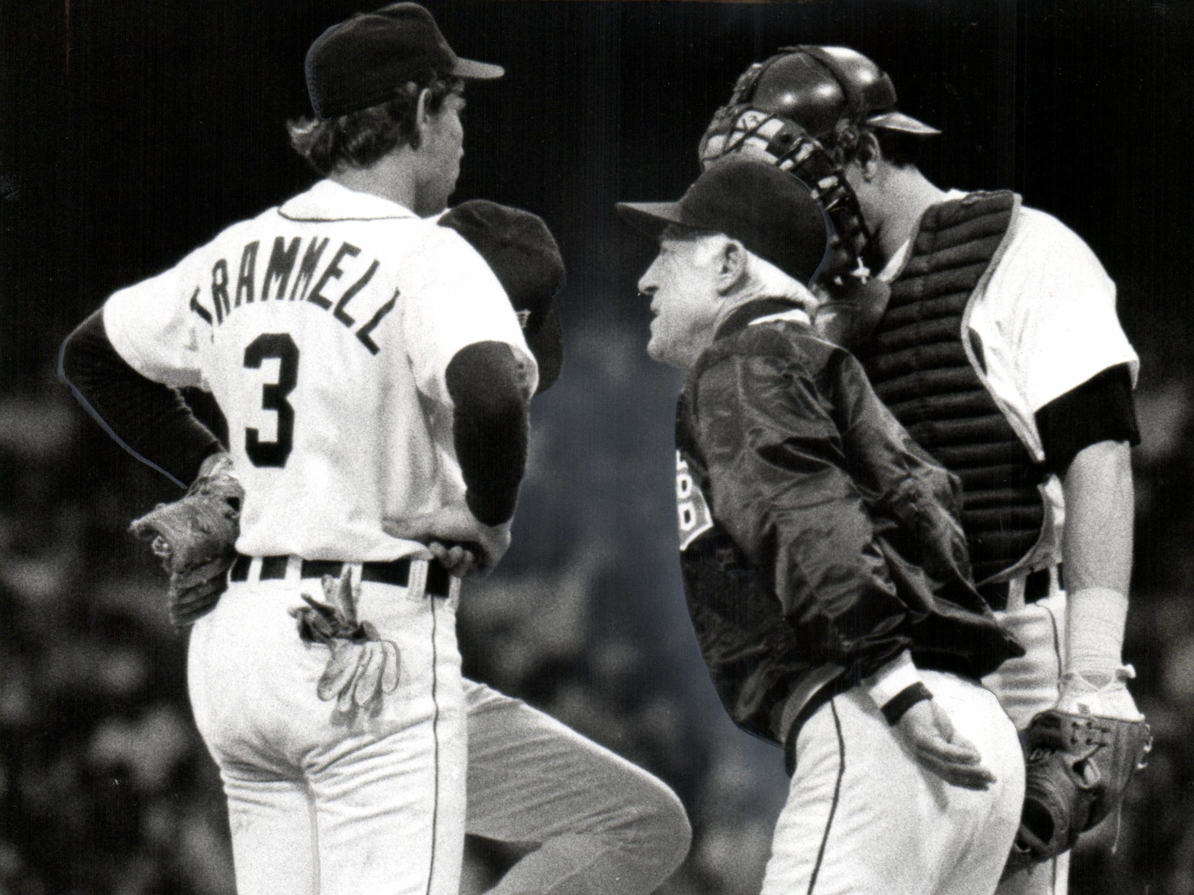 Alan Trammell, Jack Morris (behind Trammell), manager Sparky Anderson, and Lance Parrish talk things over in 1979.