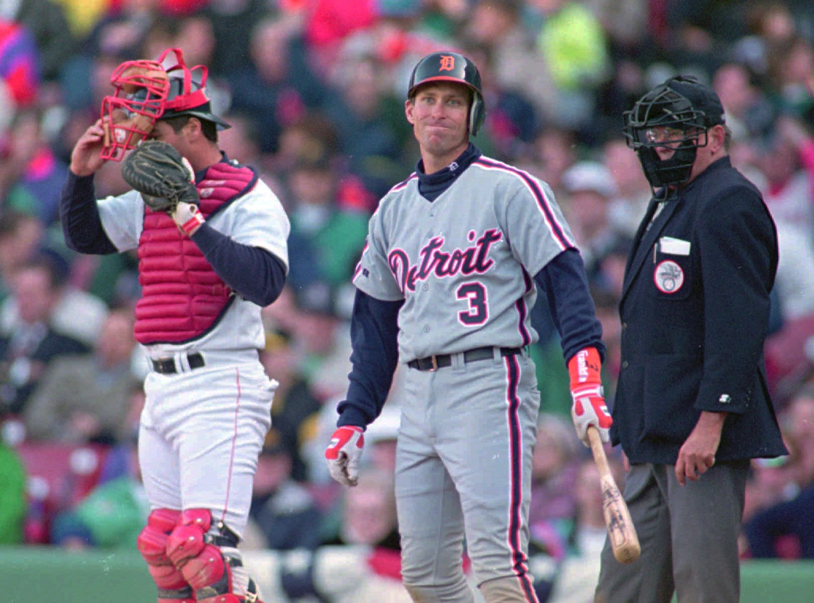 Detroit's Alan Trammell looks away in disgust after missing on a pitch in the top of the 9th down 9-8 to the Red Sox.
