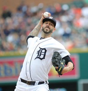 Detroit Tigers' Mike Fiers pitches against the Boston Red Sox during the first inning July 21, 2018, at Comerica Park in Detroit.