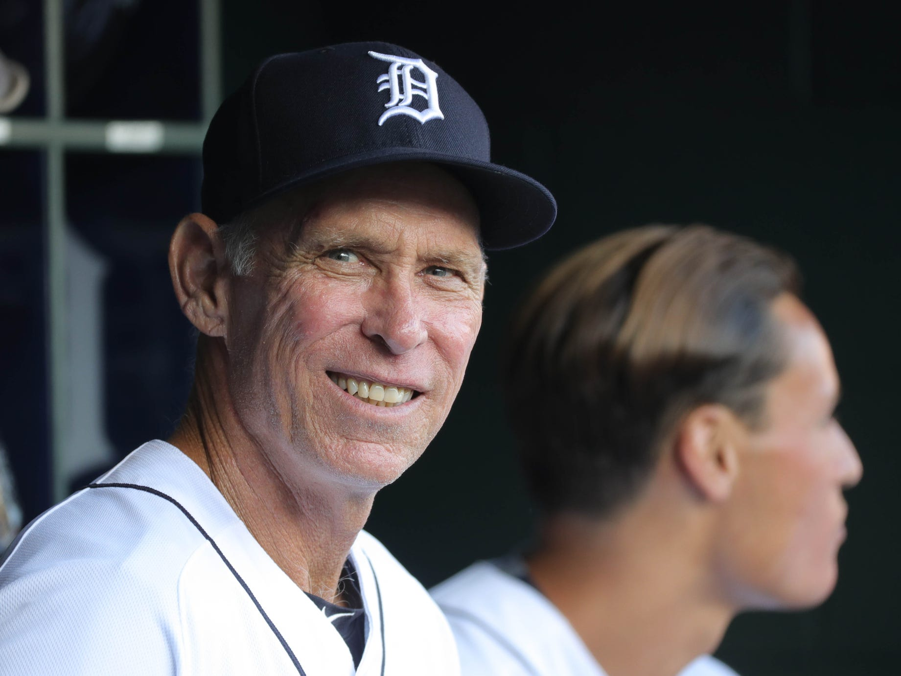 Former Detroit Tiger Alan Trammell in the dugout before action against the Cleveland Indians on Friday, June 8, 2018, at Comerica Park in Detroit.