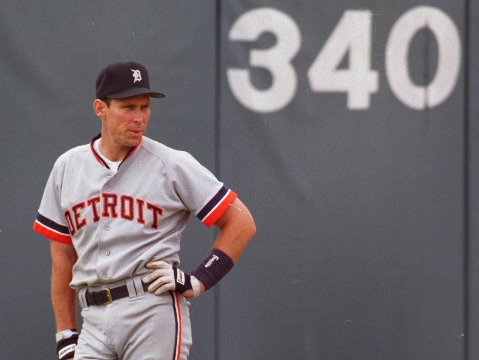 Alan Trammell is seen in the outfield during spring training Joker Marchant Stadium in Lakeland, Florida in March, 1994.