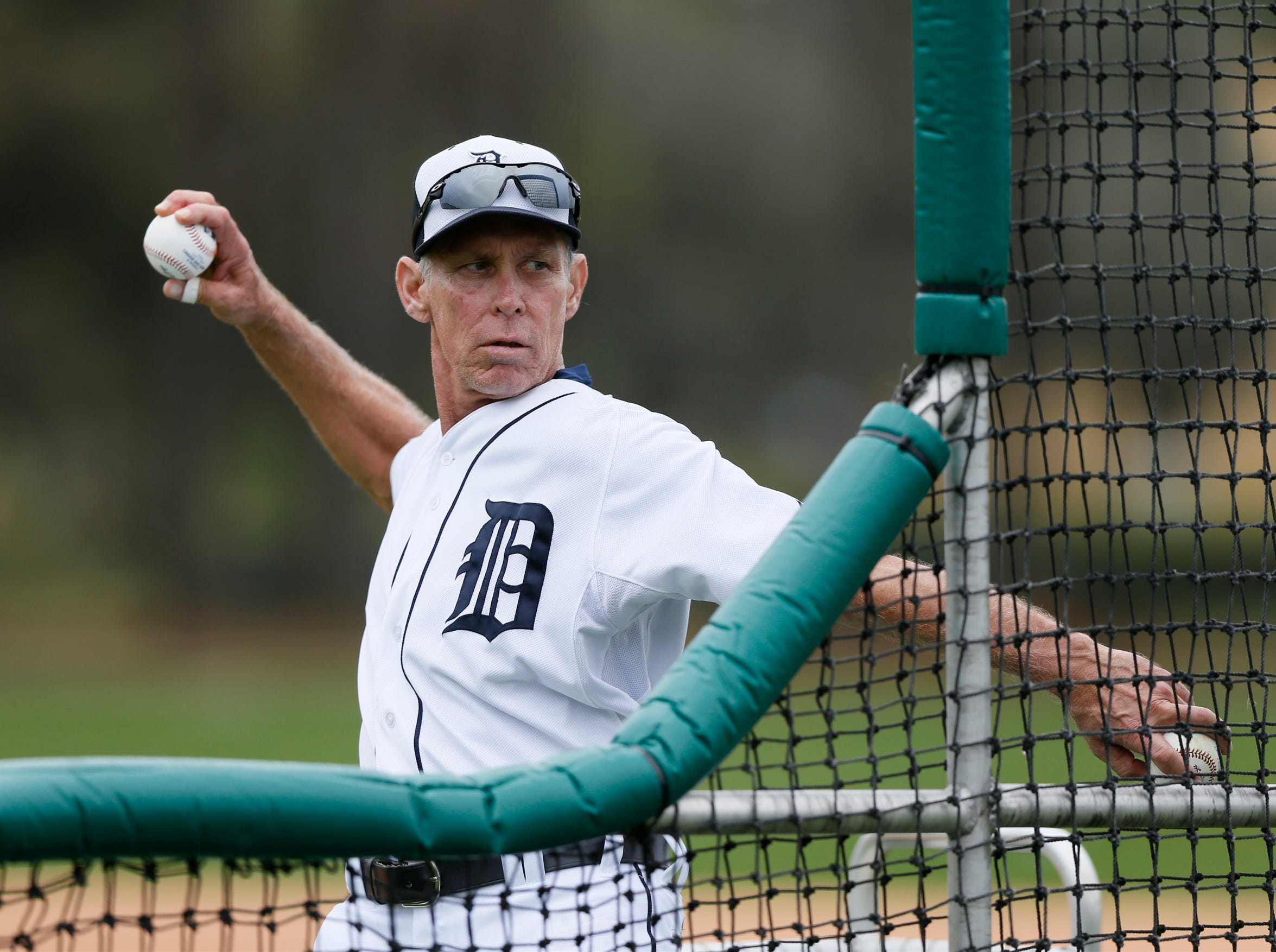 Detroit Tigers Alan Trammell, special assistant to the general manager, throwing batting practice at spring training on Thursday, February, 26, 2015 in Lakeland Florida.
