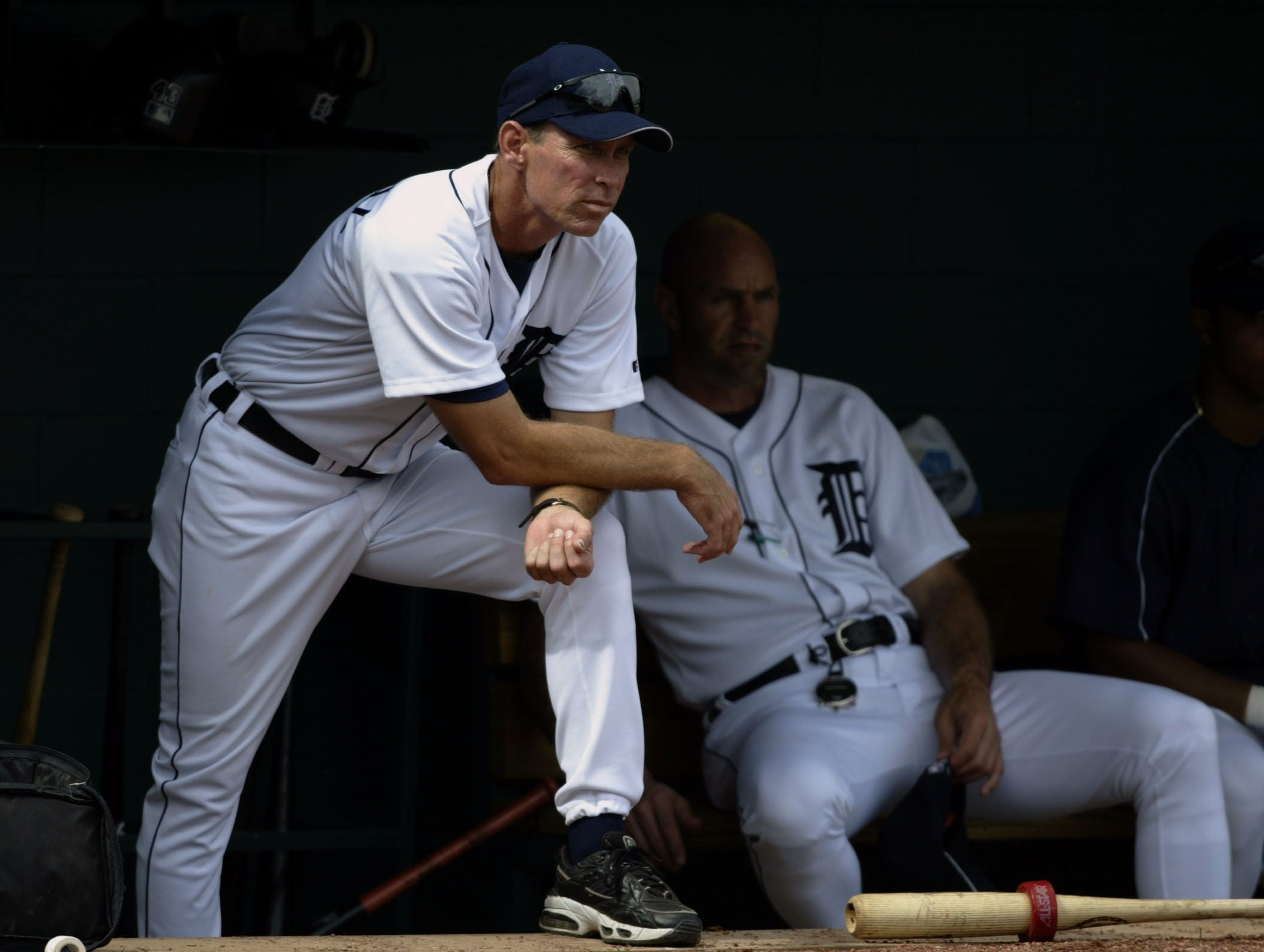 Detroit Tigers' Manager Alan Trammell keeps an eye on the action in an intersquad game at Marchant Stadium in Lakeland, Florida on Tuesday, February 25, 2003.