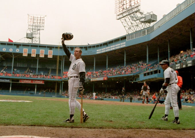 Alan Trammel waves to the crowd with Lou Whitaker to the right as they wait to bat in the 9th inning against Baltimore at Tiger Stadium in September, 1995.