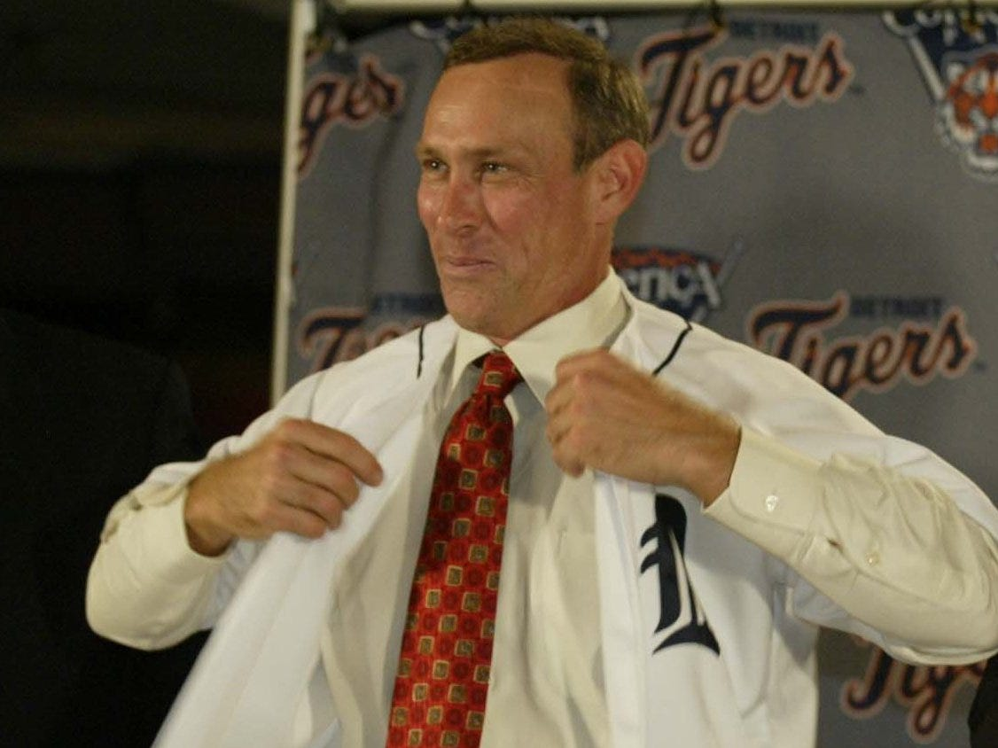 Alan Trammell smiles during a press conference to announce him as the new Detroit Tigers manager while at Joe Louis Arena on Wednesday, October 9, 2002.