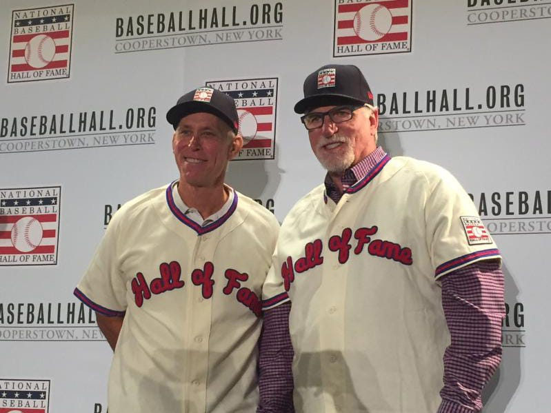 Alan Trammell and Jack Morris don Hall of Fame apparel on Monday at the Winter Meetings in Orlando, Fla. They were elected into the National Baseball Hall of Fame by the Modern Era Committee on Sunday.