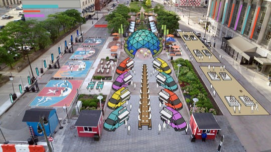 A food truck plaza near Campus Martius and Spirit of Detroit Plaza on Woodward Ave. could be among the Detroit auto show's outdoor attractions.
