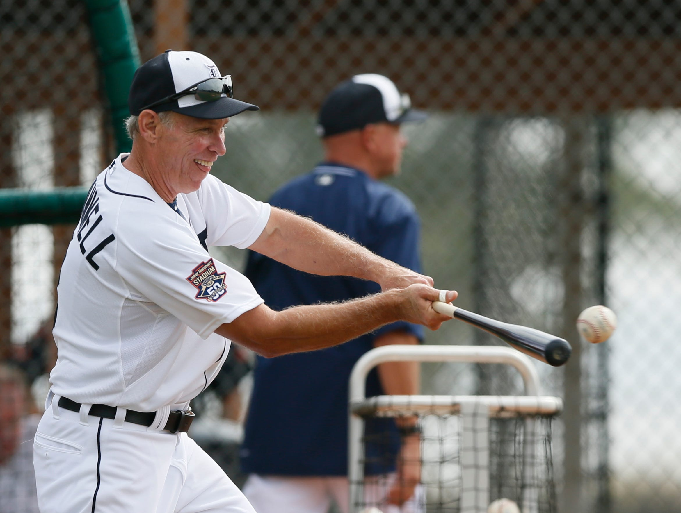 Detroit Tigers Alan Trammell, special assistant to the general manager, hits balls to players taking infield practice during the team's first full squad practice at spring training on Tuesday, February, 24, 2015 in Lakeland Florida.